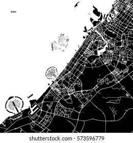 Dubai Vector Map, Artprint. Black Landmass, White Water and Roads.