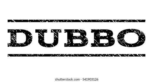 Dubbo watermark stamp. Text caption between horizontal parallel lines with grunge design style. Rubber seal stamp with scratched texture. Vector black color ink imprint on a white background.