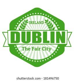 Dublin capital of Ireland label or stamp on white, vector illustration
