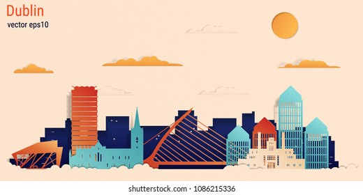Dublin city colorful paper cut style, vector stock illustration. Cityscape with all famous buildings. Skyline Dublin city composition for design
