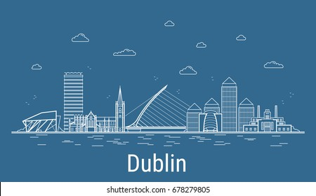 Dublin city, Line Art Vector illustration with all famous towers. Linear Banner with Showplace. Composition of Modern buildings, Cityscape. Dublin buildings set