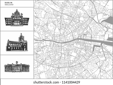 Dublin city map with hand-drawn architecture icons. All drawigns, map and background separated for easy color change. Easy repositioning in vector version.