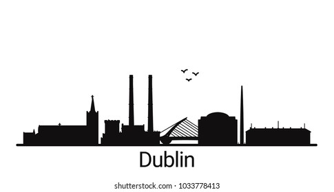 Dublin city outline skyline. All Dublin buildings - customizable objects, so you can simple change skyline composition. Minimal design.