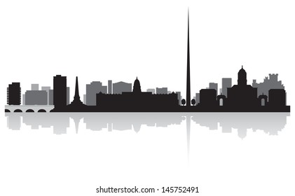 Dublin city skyline silhouette vector illustration