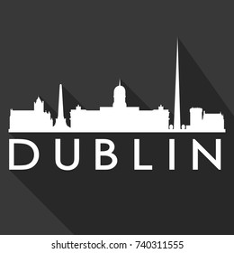 Dublin Flat Icon Skyline Silhouette Design City Vector Art Famous Buildings