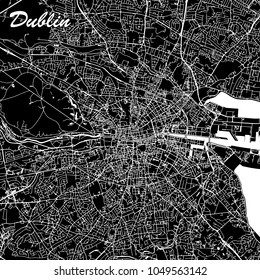 Dublin Ireland City Map Black and White. Abstract Vector Graphic with Highways, Roads and smaller City Streets. Metropolitan Region