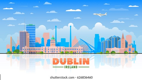 Dublin, ( Ireland ) city skyline vector illustration on sky background. Business travel and tourism concept with modern buildings. Image for presentation, banner, web site.