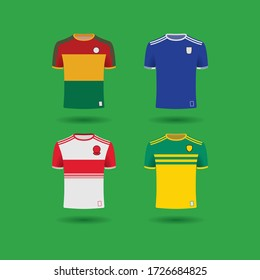 DUBLIN, IRELAND, MAY 2020: Illustrations of Irish Football and Hurling jersey uniforms from different counties in Ireland