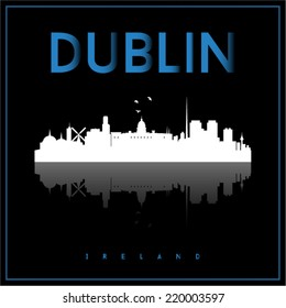 Dublin, Ireland skyline silhouette vector design on parliament blue and black background.