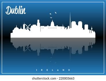 Dublin, Ireland skyline silhouette vector design on parliament blue and black background.