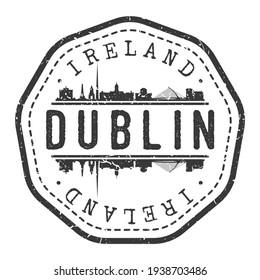 Dublin, Ireland Stamp Skyline Postmark. Silhouette Postal Passport. City Round Vector Icon. Vintage Postage Design.