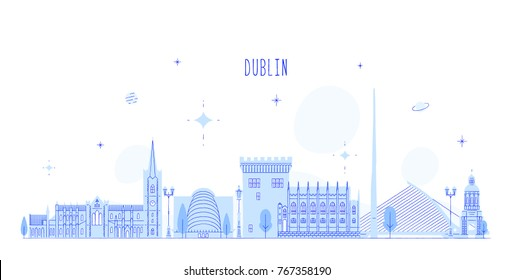 Dublin skyline, Ireland. This illustration represents the city with its most notable buildings. Vector is fully editable, every object is holistic and movable