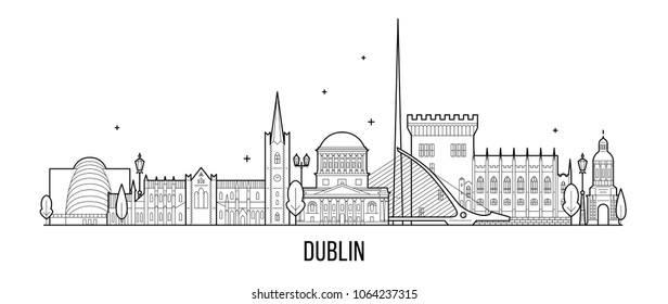 Dublin skyline, Ireland. This vector illustration represents the city with its most notable buildings. Vector is fully editable, every object is holistic and movable