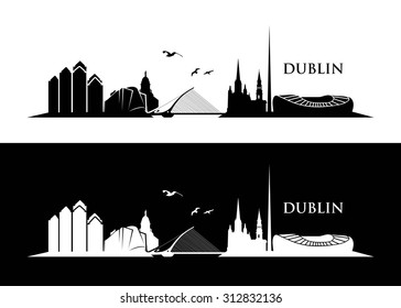 Dublin skyline - vector illustration