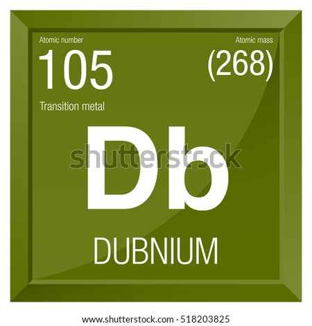 Dubnium Symbol Element Number 105 Periodic Stock Vector Royalty