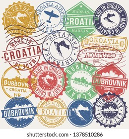 Dubrovnik Croatia Set of Stamps. Travel Stamp. Made In Product. Design Seals Old Style Insignia.