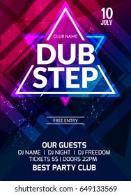 Dubstep party flyer poster. Futuristic club flyer design template. DJ advertising, digital creative club intertainment.