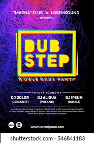 """""""Dubstep"""" party poster. Futuristic club flyer design. Eps10 vector template."""