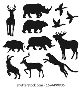 Duck bird, bear and deer wild animal black silhouettes. Hunting sport and safari vector theme. Wild forest boar, elk or moose, african jaguar, antelope and rhino, panther, mountain goat and reindeer