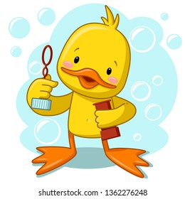 duck blowing bubbles