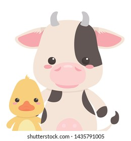 Duck and cow cartoon design