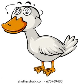 Duck with dizzy face on white background illustration