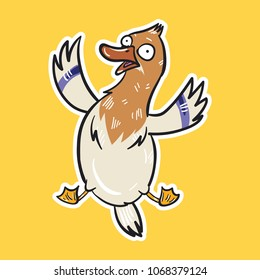duck emoji afraid bird sticker on yellow background