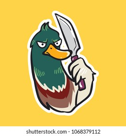duck emoji angry sticker with knife on yellow background