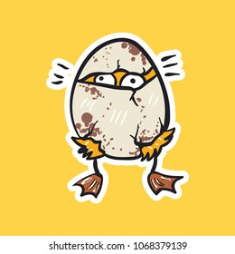 duck emoji chicken into the egg on yellow background