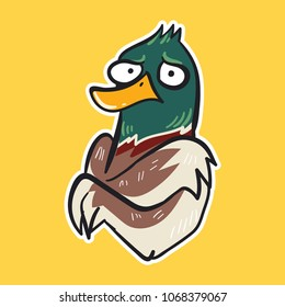 duck emoji so cold on yellow background