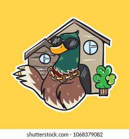 duck emoji cool bird with sun glasses with big house sticker