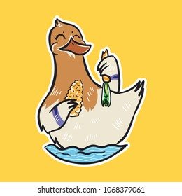duck emoji eating bird sticker on yellow background