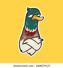 duck emoji sad bird sticker on yellow background