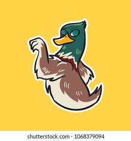 duck emoji strong bird sticker on yellow background