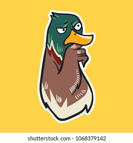 duck emoji suspicious bird sticker on yellow background