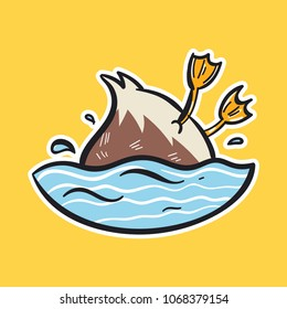 duck emoji swimming bird sticker on yellow background