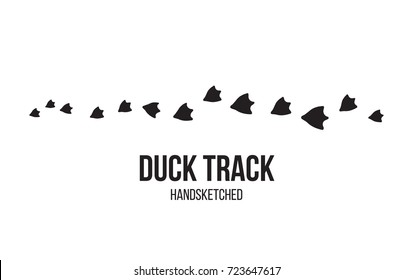 Duck footprint and track isolated on white background for wildlife concept design. Bird paw print