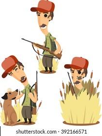 Duck Hunter with Retrieving Dog cartoon set