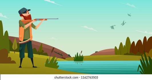 Duck hunting background. Cartoon illustration of hunter on hunt. Vector hunter bird shoot to target outdoor