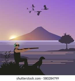 Duck hunting season illustration, shooting for duck