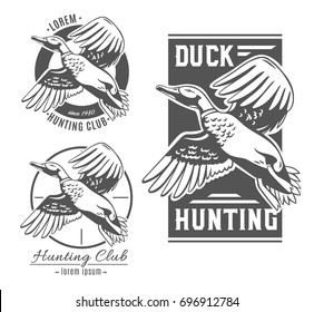 Duck Hunting. Set of vector logos.
