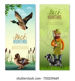 Duck hunting vertical banners including man with shotgun and dog, birds on nature background isolated vector illustration