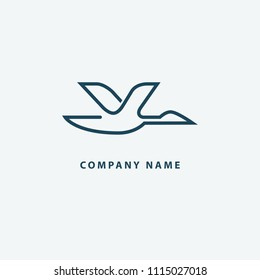 Duck icon. Park, zoo, pet shop, farm, bird feather, wild nature vector flat style logotype modern. Bird silhouette logo. Vector abstract minimalistic illustration flying fowl.
