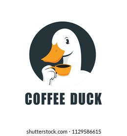 Duck Logo Design Abstract Vector Medium Drinking A Cup of Coffee, Symbol or Logo Template. Sketch of Hand Engraving Duck. Vintage Emblem. Isolated.
