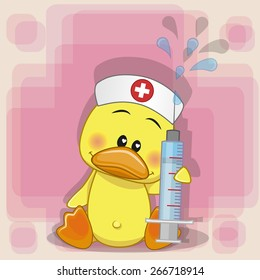 Duck nurse with a syringe in his hand