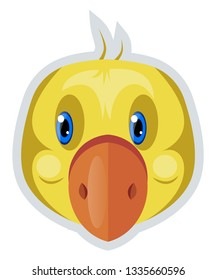 A duck with orange nose and blue eyes, vector, color drawing or illustration.