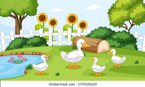 Duck at the pond illustration