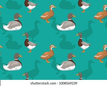 Duck Saxony Cartoon Seamless Wallpaper