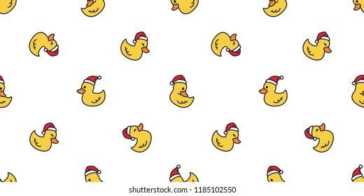 duck seamless pattern Christmas vector rubber duck Santa Claus Xmas tile background repeat wallpaper cartoon scarf isolated illustration yellow