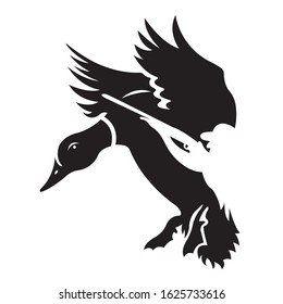 Duck silhouette drawn in various lines of black color. Logo for the opening of the hunting season, tattoo, emblem of the hunting club. Vector isolated illustration